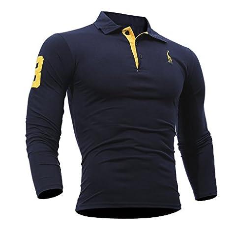 WSLCN Homme Sportif Polo Shirt Habillée Manches Longues Fitness Maillot Bleu Foncé FR S (Asie L)