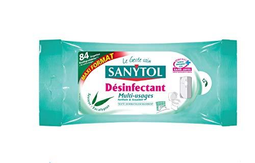 Sanytol Set de 84 Lingettes Désinfectantes Multi-Usages Eucalyptus Maxi - Lot de 3