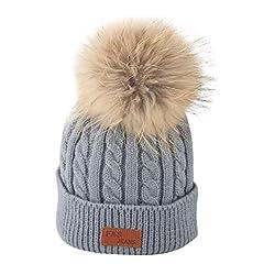 Idea Regalo - Mbby Berretto A Maglia con PON PON Bambino Inverno, 2-8 Anni Cappello Neonato Autunno in Cotton Addensare Antivento Caldo Morbido per Ragazzo E Ragazza