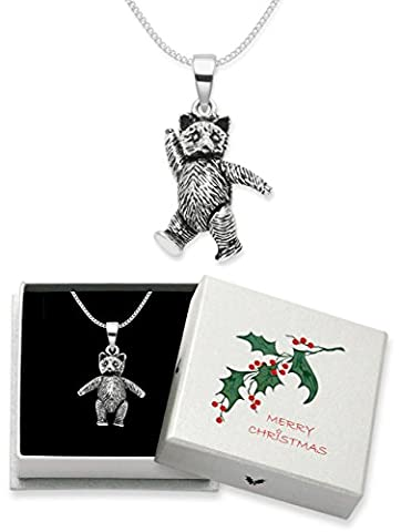 Christmas Gift Boxed Sterling Silver Teddy Bear Pendant Necklace on silver chain - jointed Teddy Bear with movable arms and legs - 3.5gms - Size: 20mm x 8mm