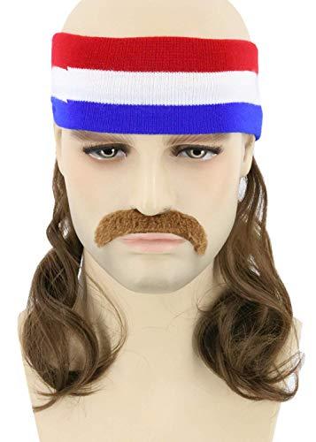 Stirnband mit Schnurrbart, Kopfband Haarband mit Haaren Blau-weiß-Rot Vokuhila Mullet Perücke Herren (Braun) ()