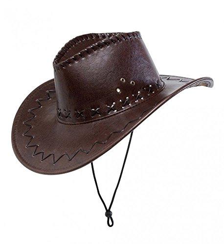 Hüte Cowboy Leder (Brauner Cowboy-Hut aus Kunstleder mit Nähten für Erwachsene Herren)