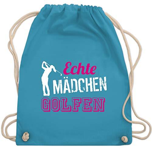 Shirtracer Golf - Echte Mädchen golfen - Unisize - Hellblau - WM110 - Turnbeutel und Stoffbeutel aus Bio-Baumwolle