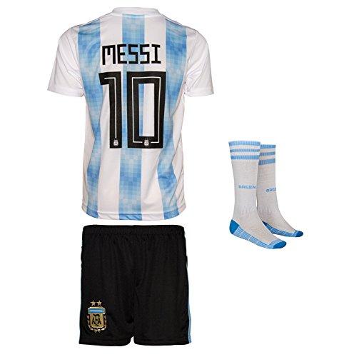 Argentinien Weltmeisterschaft WM18 # 10 Messi - Kinder Trikot und Hose mit Socken (128, WM 18)