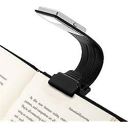 Opard Clip Luz USB Recargable Lampara Cuidado de Ojos Doble como Marcapáginas Flexible con 4 Nivel Regulable para Libro Ebook Lectura en Cama, Kindle, Ipad (Negro), 1