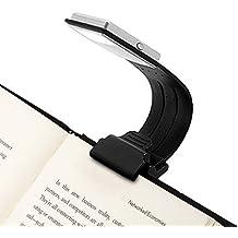 Opard Lectura Luz para Leer del Libro de 4 Elaborar Brillo Ajustable – Proyección con Pinza Kleine Libro Lectura Flexible Libro de LED Lectura Para Kindle Batería de la Lámpara Recargable Mediante USB (Negro)