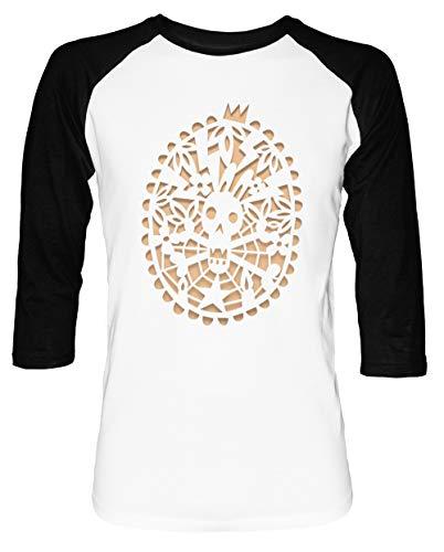 Fluch Von Das Hase Herren Damen Unisex Baseball T-Shirt Weiß Schwarz 2/3 Ärmel Women's Men's Unisex Größe M Men's White T-Shirt Medium Size M (Papier Schwarz Deckchen)