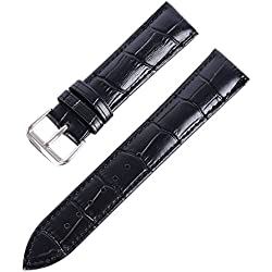 Supplylink Women Men Leather Band Stainless Steel Buckle Watch Band Strap 16mm