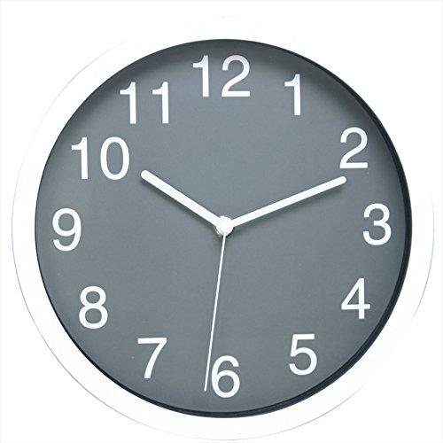 """Jinberry 10"""" Rond Silencieuse Minimaliste Pendule Murale Moderne / Horloge Analogique Classique, sans Tic Tac - Gris"""