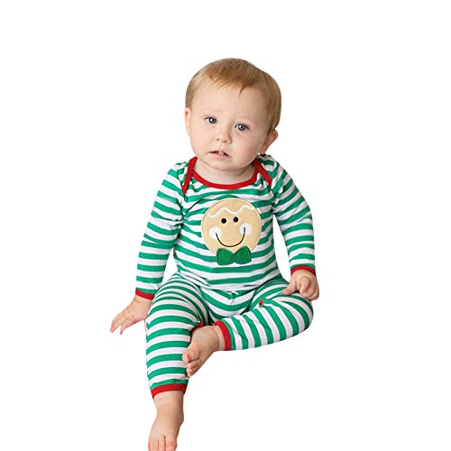 POLP Niño Regalo Navidad Bebe Pijama Rojo Navidad Bebe Disfraz Ropa Invierno Bebe niña Unisex Manga Larga Mameluco Camiseta Cara...