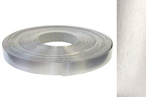 Kantenumleimer ABS 22mm x 10m mit Schmelzkleber in echt Aluminium Alu gebürstet