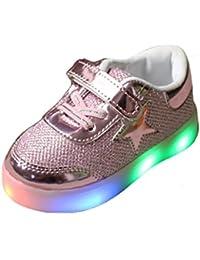 YHNEW Zapatos Deporte Respiradero Niños Kids Shoes Tenis Muchachas Ligeras Llevadas Rosado 25
