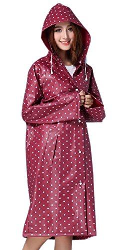Rain Mac, Womens Girls Portable Fashion Polka Dot Long Raincoat with Long Sleeves Travel Reuseable Showerproof Rain Jacket Mac