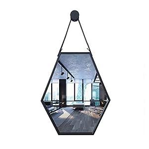 Einfach und Exquisit Badezimmer-Spiegel Badezimmer-Spiegel Der Wand Befestigter Hexagonal Hanging Spiegeldeko Moderne Badezimmer-Spiegel (Farbe : Schwarz, Größe : 46.5X56.5cm)