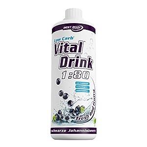 Best Body Nutrition - Low Carb Vital Drink, Schwarze Johannisbeere, 1000 ml Flasche