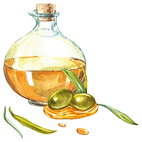 dekodino® Wandtattoo Obst Aquarell Olivenöl Küche Esszimmer Deko - Banane Olivenöl