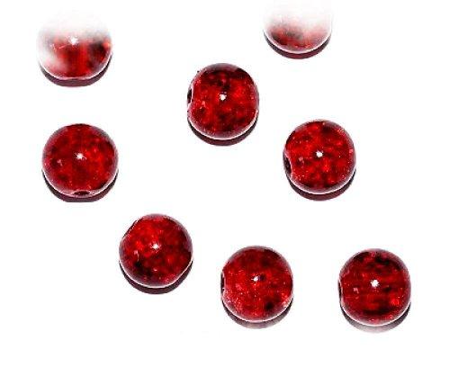 Steckbrücke rote Kirsche, 8 mm, rund, Crackle-Glas-Perlen für Schmuckherstellung, Ref 13A17): (Crackle Glas Ornament)