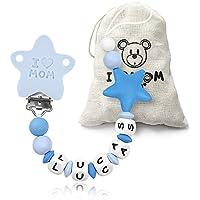 RUBY - Chupetero personalizado para bebe con nombre bola silicona antibacteria con pinza de plástico. Chuptero Estrella
