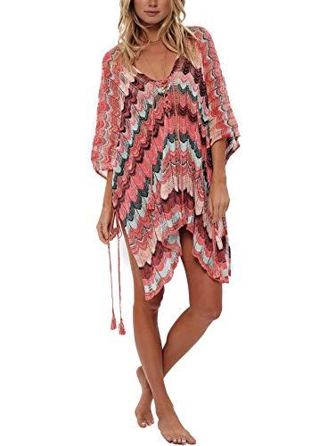 Jeasona Damen Badeanzug Abdeckung für Strand Pool Bademode Häkelkleid - Mehrfarbig - Large (Junior Badeanzug Ups Cover)
