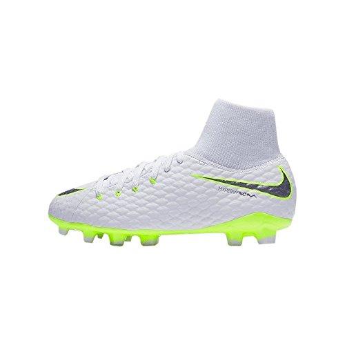 Nike Unisex-Kinder Phantom 3 Academy DF FG Fußballschuhe, Weiß (White Volt-Chrome 107), 38 EU