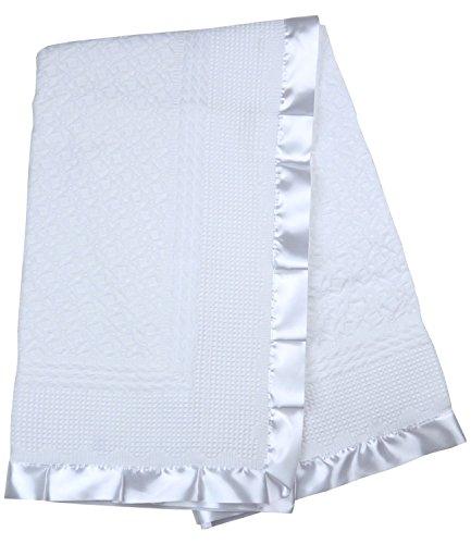 BabyPrem Baby Bettwäsche Große Taufe Strickdecke Schal Taufe-Decke Satin Rand Weiß (Taufe-decke)