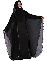 D C Women's Lycra & Georgette Dubai Butterfly Stone Work burqa for women stylish Abaya with Hijab (Dupatta) and Mouthpiece(Black, Free Size)