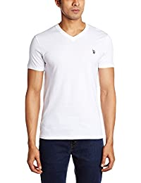 US Polo Assn. Men's V Neck Cotton T-Shirt (I031-001-P1-S White)