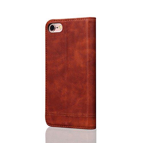 iPhone 6 Plus / iPhone 6s Plus Handycover, LifeePro für iPhone 6 Plus / iPhone 6s Plus Crazy Horse Pattern PU Leder Brieftasche Handycover mit Flip Stand Funktion Fotorahmen und Kartensteckplätze TPU  Hellbraun