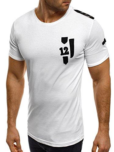 OZONEE uomo maglietta con motivo Manica Corta Girocollo Che fa risaltare la figura BREEZY 301 bianco_BREEZY-228