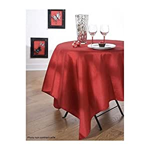CALITEX - Nappe en tissu effet soie RIO RED rectangulaire 150X300 cm