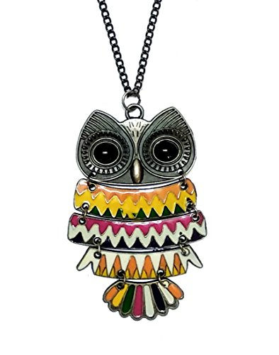 The Trendy Trendz Long Chain Multi Color Bronze Big Owl Pendant Necklace...