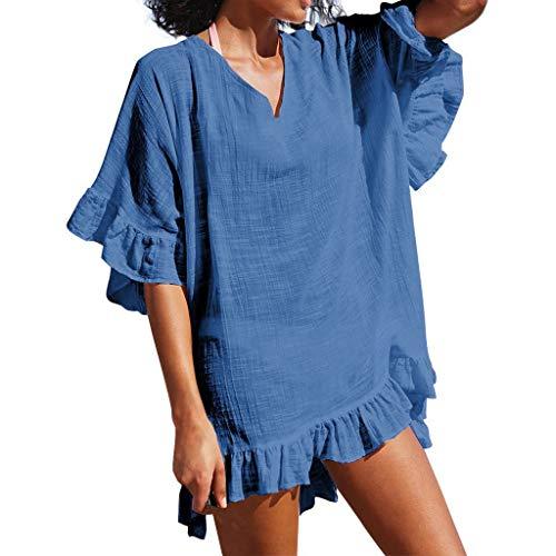 Whycat Badeanzug Damenmode mit V-Ausschnitt Strand sexy Badeanzug Kittel lässig Sommerkleid(Blau,XXL