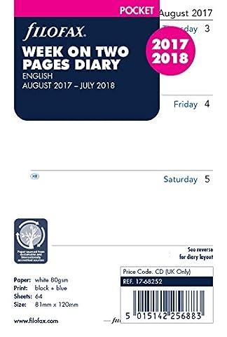 Filofax Agenda de poche/semainier, année scolaire britannique août 2017/juillet 2018 [en anglais]