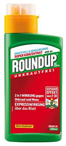 Roundup AC Unkrautvernichter Konzentrat, zum Sprühen, bekämpft Unkräuter, Gräser und Moos, Unkraut Stopp, Unkrautfrei, Ohne Glyphosat, 400 ml
