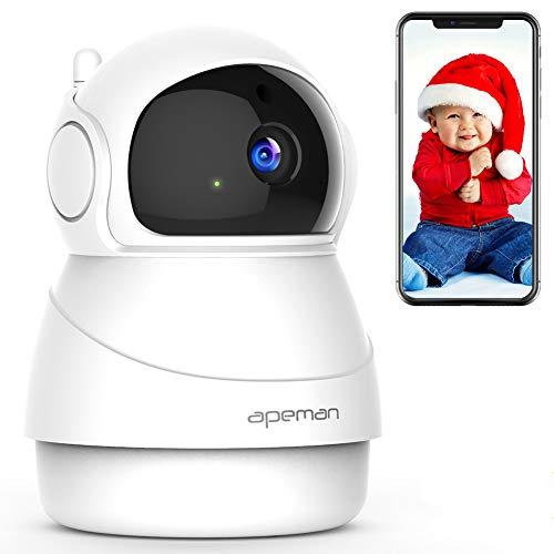 Apeman 1080P Überwachungskamera, WLAN, IP Kamera, kabellos, Bidirektional, Nachtmodus Infrarot, kompatibel mit iOS und Android und PC