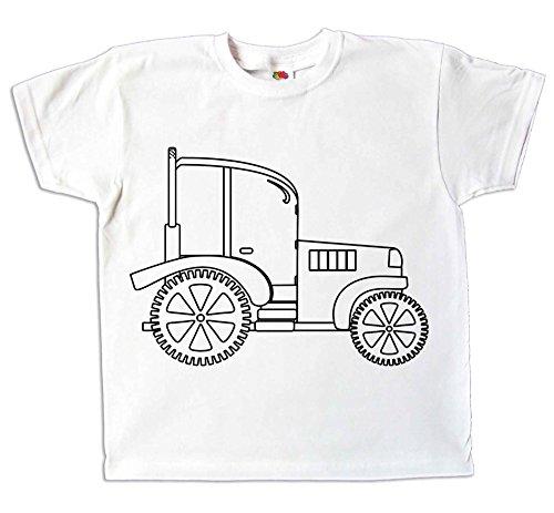 Kinder T-Shirt Traktor Zum bemalen und ausmalen mit Vordruck Zum Kindergeburtstag Kindergarten für Jungen und Mädchen (98)