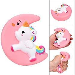 Squishy Animales, Kawaii Squishies, Mini Squishies Animal Juguetes para Estrés Relevista Regalo Decoración Squishy Cute Moon Unicorn Scented Cream Slow Rising Squeeze Decompression Toys LMMVP