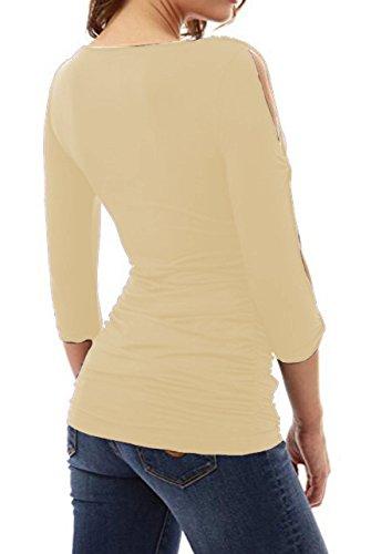 Damen Shirt Langarm V Ausschnitt Sommer Elegant Blouses Oberteil Blusenshirt Aprikose