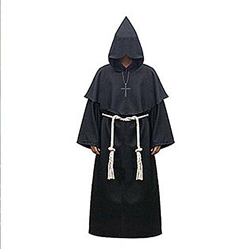 Enjoygoeu Halloween Kostüm Robe Priester Mönch Mittelalter Kostüm Umhang Kapuze Karneval Party Cosplay für Erwachsene Unisex (Schwarz, XL)