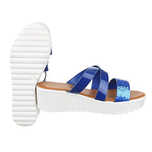 Pantoletten Damen Schuhe Jazz & Modern Keilabsatz/ Wedge Keilabsatz Ital-Design Sandalen / Sandaletten Blau