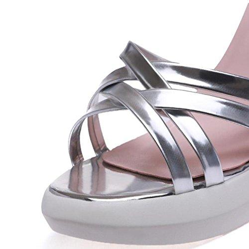 Lemon&T Summer Women Style décontracté en cuir haut de gamme Patent Round-toe antidérapante Sandales Sole 9CM Compensées purple
