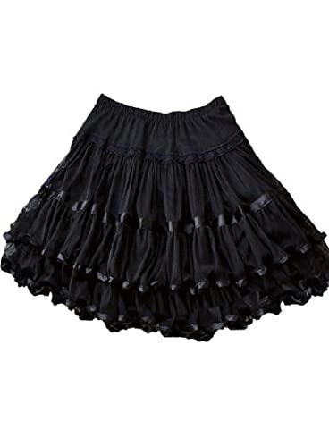 Yummy Bee Skirt Plus Size Swing Retro Rockabilly Vintage 50s Long Flared Skater Burlesque (Blk, 18)