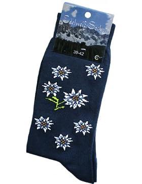 Trachtensocken Edelweiß-Socken Blütenmuster jeansblau