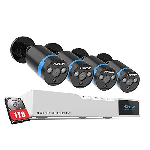 H.VIEW 1080P Überwachungskamera System 4 x 1080P Wetterfest HD-Kamera Außen und 8CH DVR mit 1TB Festplatte 1080P Überwachungskamera Set Bewegungsmelder IR Nachtsicht (8ch Dvr)