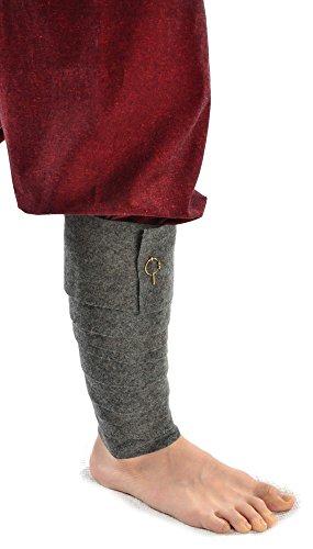 HEMAD Mittelalter Wadenwickel Set mit Fibeln aus Wollfilze grau