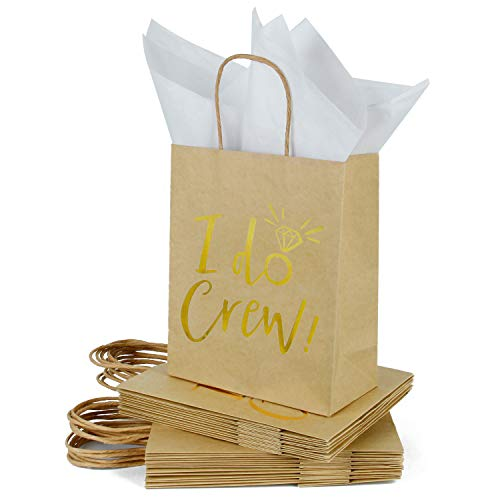 Loveinside Mittlere Kraft Geschenk-Taschen-Ich Mache Crew Goldfolie Braun Papier Geschenktüte mit Seidenpapier - Hochzeit, Party Gefallen, Brautjungfern Geschenk-12Pack -20.5 X10.2 X 25.5CM - Kraftpapier Tissue-papier Braun