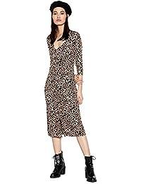 Red Herring Womens Brown Animal Print Button Through Midi Dress af7316ebe