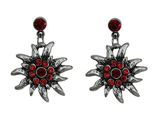 Trachtenschmuck Dirndl Ohrstecker Edelweiss Silberfarben mit Strass Siam Light Siam rot Ohrringe