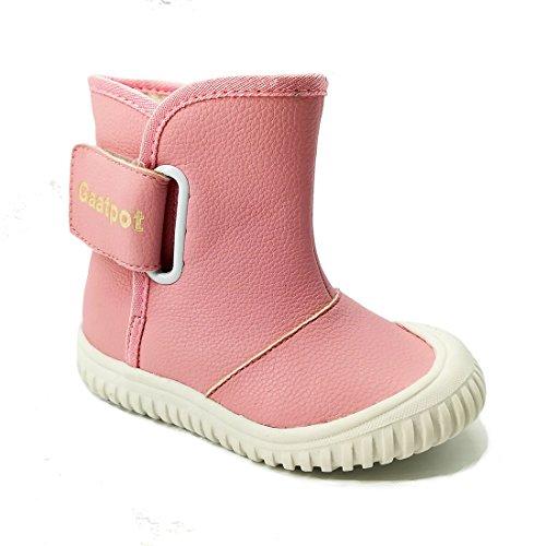 Oderola Baby Jungen Winterstiefel PU Leder Schlupfstiefel Babyschuhe mit Warmfutter Kleinkind Schuhe Rose 25