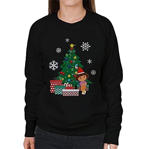 Dora The Explorer Around The Christmas Tree Women's Sweatshirt